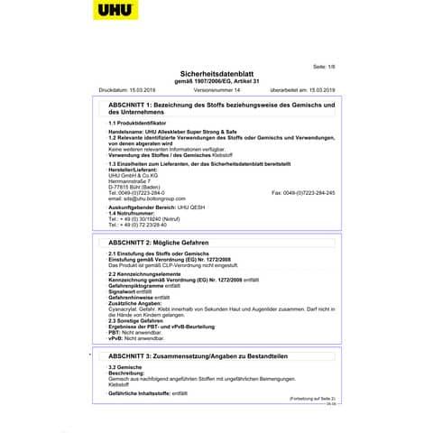 Alleskleber Super&Stark UHU 46960 7g Produktbild Sicherheitsdatenblatt XL