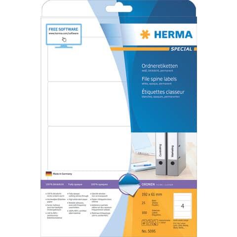 Ordneretikett 61x192mm weiß HERMA 5095 25BL 100ST Produktbild