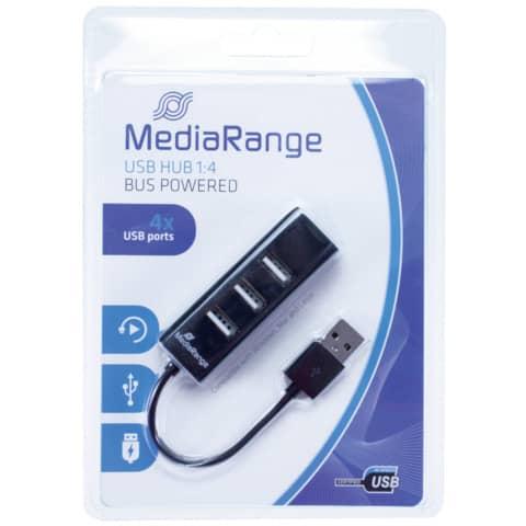 USB-Hub 2.0  1:4 schwarz MEDIA RANGE MRCS502 Produktbild Einzelbild 2 XL