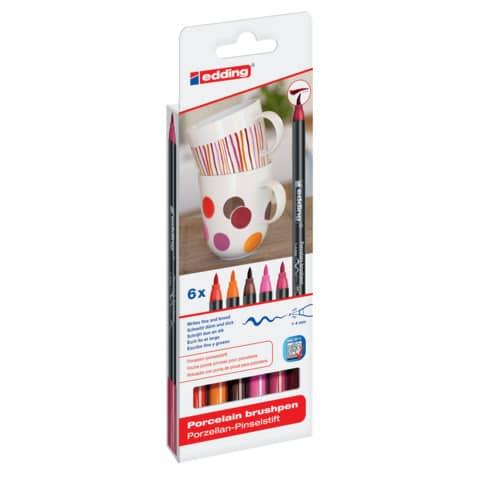 Porzellanmalstift Brushpen 6St EDDING 4200-6999 Warm Produktbild