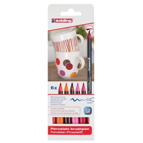 Porzellanmalstift Brushpen 6St EDDING 4200-6999 Warm Produktbild Einzelbild 3 XL