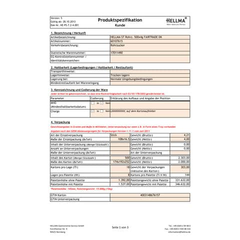 Zuckerstick Fairtrade Rohrzuck HELLMA 60107615 500x4g Produktbild Lebensmittelinformation XL