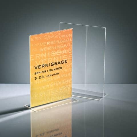 Tischaufsteller A4 hoch glasklar Acryl SIGEL TA220 gerade Standfüße Produktbild Stammartikelabbildung 1 XL
