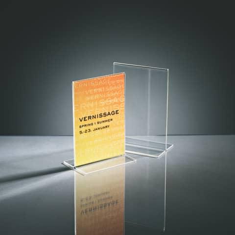 Tischaufsteller A6 hoch glasklar Acryl SIGEL TA226 gerade Standfüße Produktbild Stammartikelabbildung 1 XL