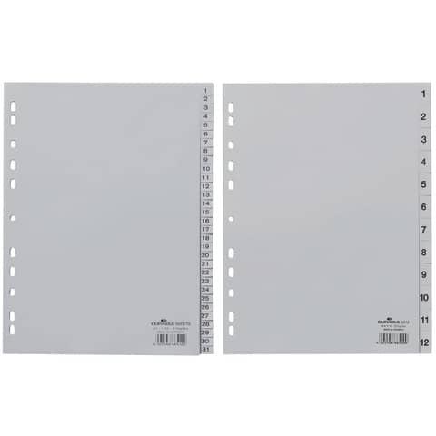 Register 1-12 grau A4 DURABLE 6512 10 geprägte Taben Produktbild Stammartikelabbildung XL
