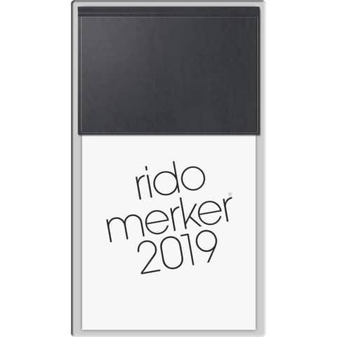 Tischkalender 1T 1S schwarz 10,7x20,1cm RIDO 703500390 Kunstleder Merker Produktbild