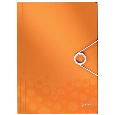Gummizugmappe A4 orange metall LEITZ 4599-00-44  Wow PP Produktbild